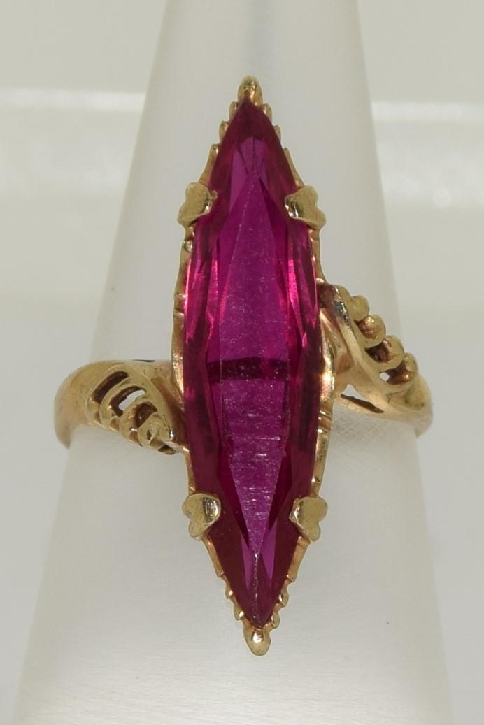 9ct gold pink tourmaline diamond shape ring size M - Image 4 of 5