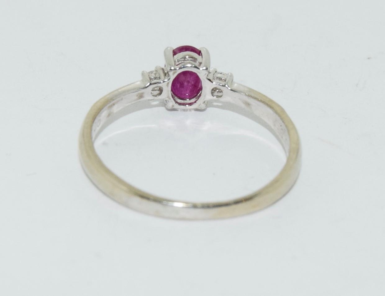 Ruby and Diamond 9ct gold ring, Size O. - Image 3 of 6
