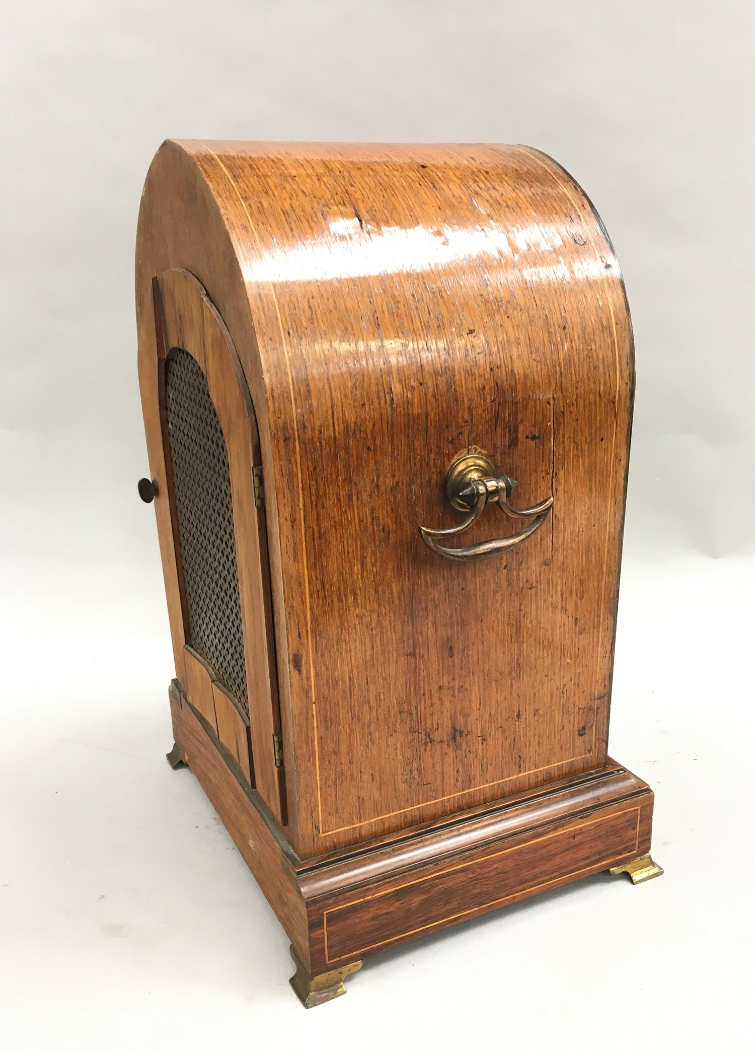 Edwardian in laid dome shape striking mantle clock,with brass face on brass feet and side carrying - Image 7 of 8