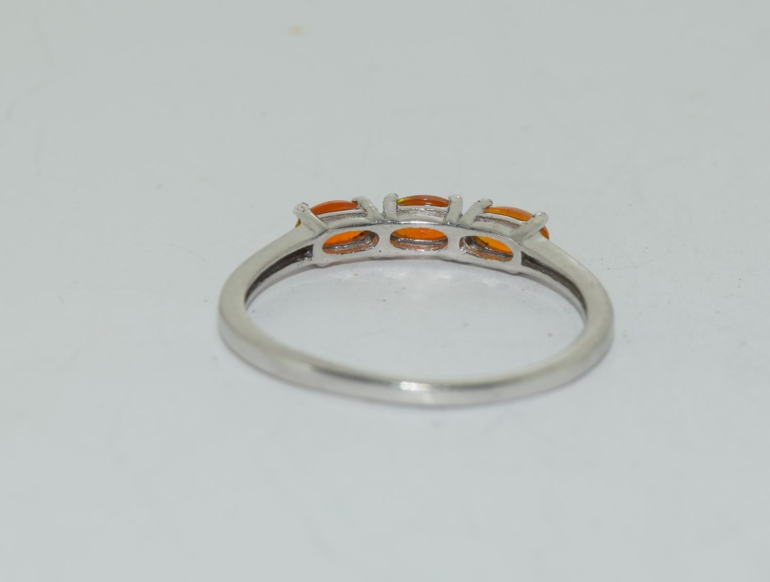 Ethiopian fire opal 925 silver ring, size S 1/2. - Image 3 of 3