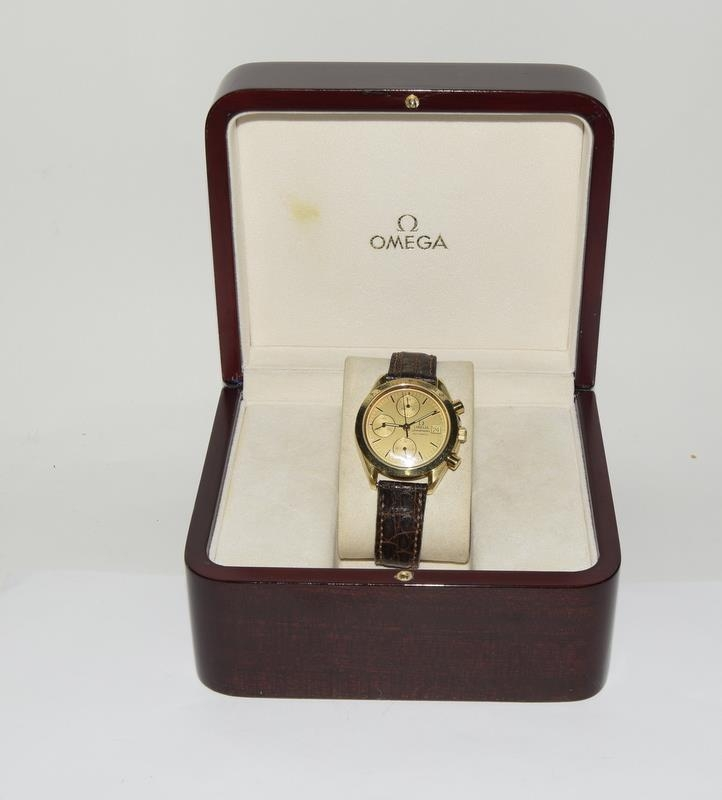 Omega Speedmaster 18 carat gold Gents Chronograph watch - automatic, boxed.