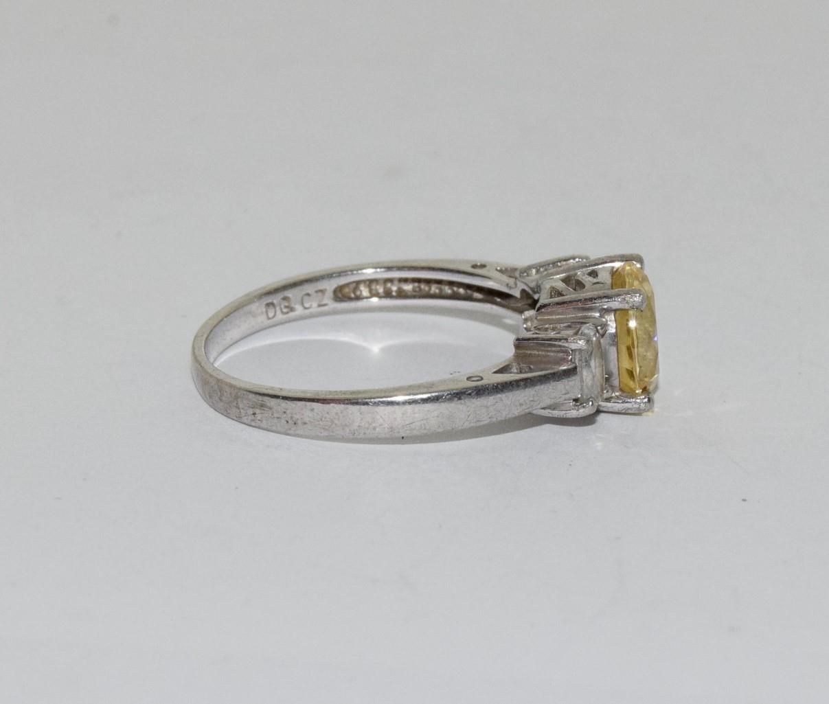 Yellow C/Z 925 silver ring, Size R - Image 2 of 3