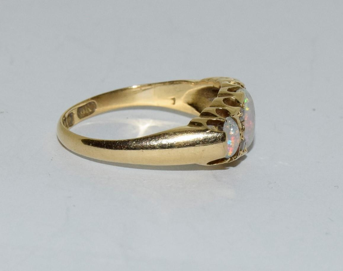 Antique 18ct gold opal/diamond boxed ring, Size P - Image 2 of 6