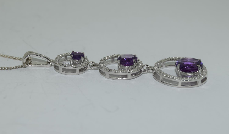 Amethyst 925 silver Art Deco designed pendant. - Image 2 of 3