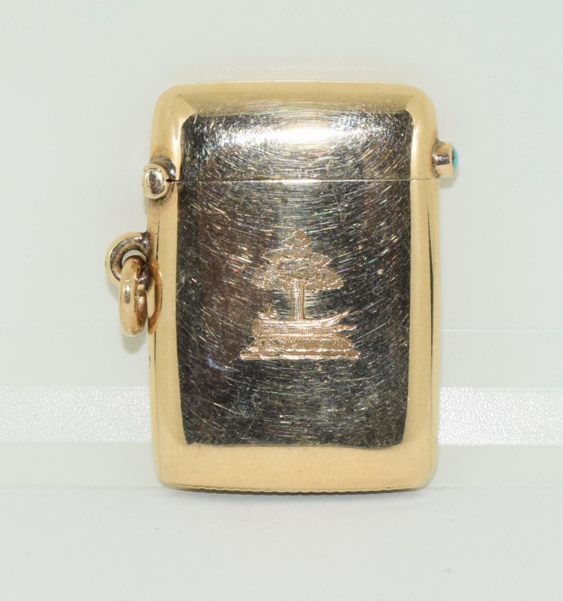 9ct gold Vesta case with a turquoise cabochon fully hallmarked for London 1878 by George Gray