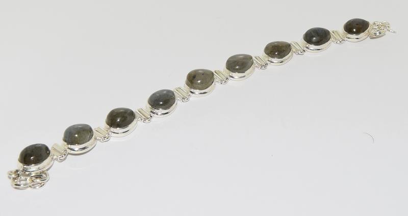 A Silver Labradorite bracelet.