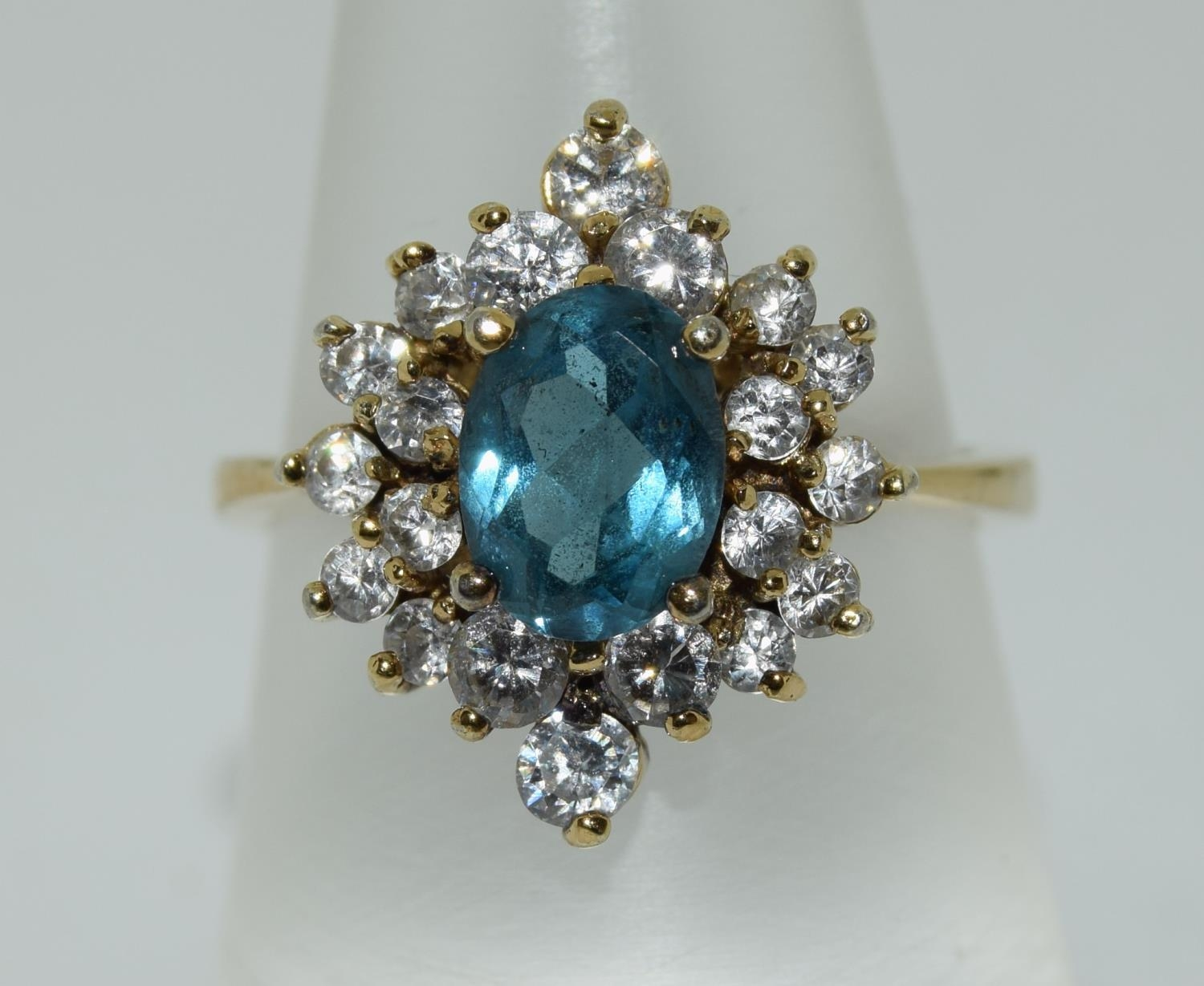 Blue Topaz gold on silver cluster ring, Size N 1/2.