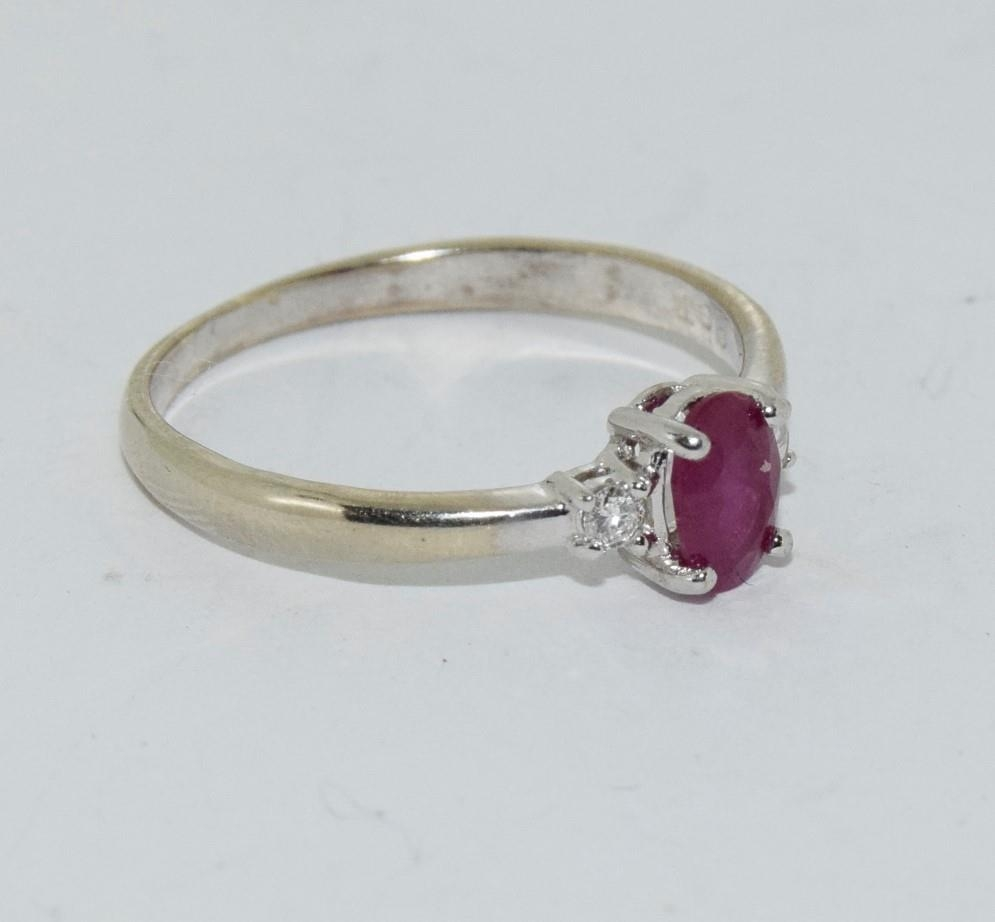 Ruby and Diamond 9ct gold ring, Size O. - Image 5 of 6