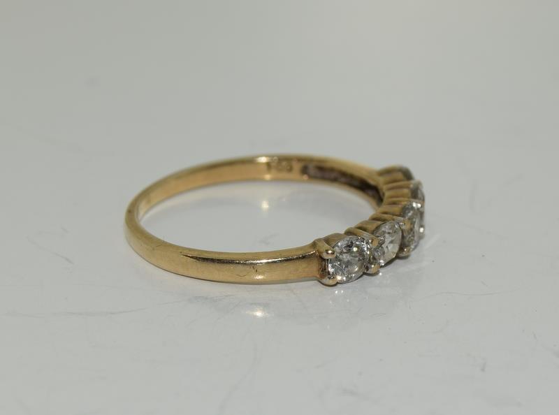 9ct gold ladies 5 stone diamond ring h/m 1ct size P - Image 5 of 6