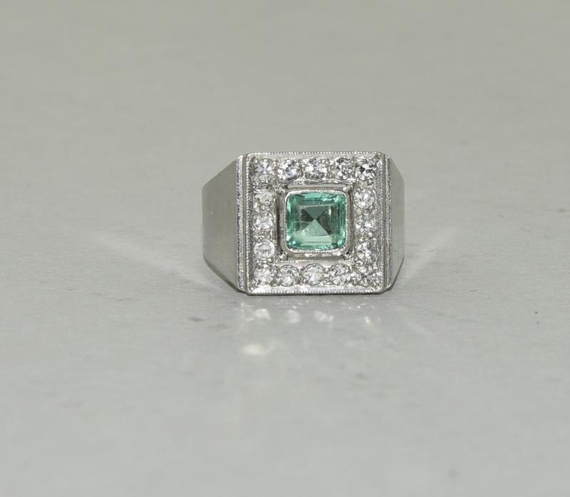 Platinum Art Deco Emerald Diamond ring. Size N. - Image 6 of 6