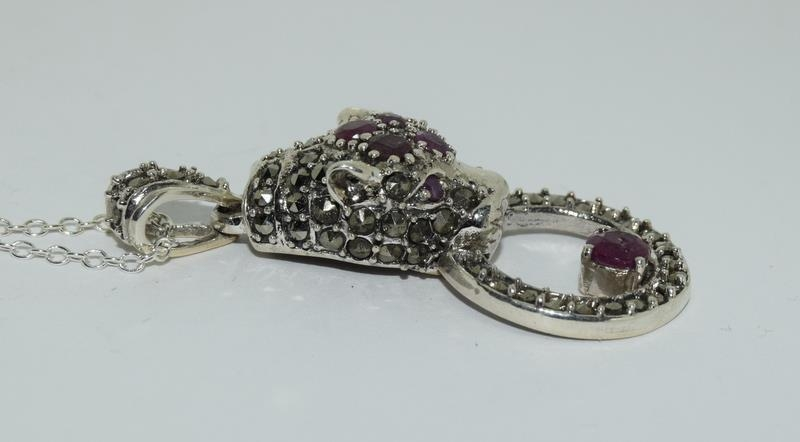 A silver and Ruby set Cartier style Leopard shaped pendant necklace. - Image 2 of 4