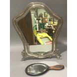 Silver hallmarked easel back dressing table mirror together with a wood backed handheld mirror.
