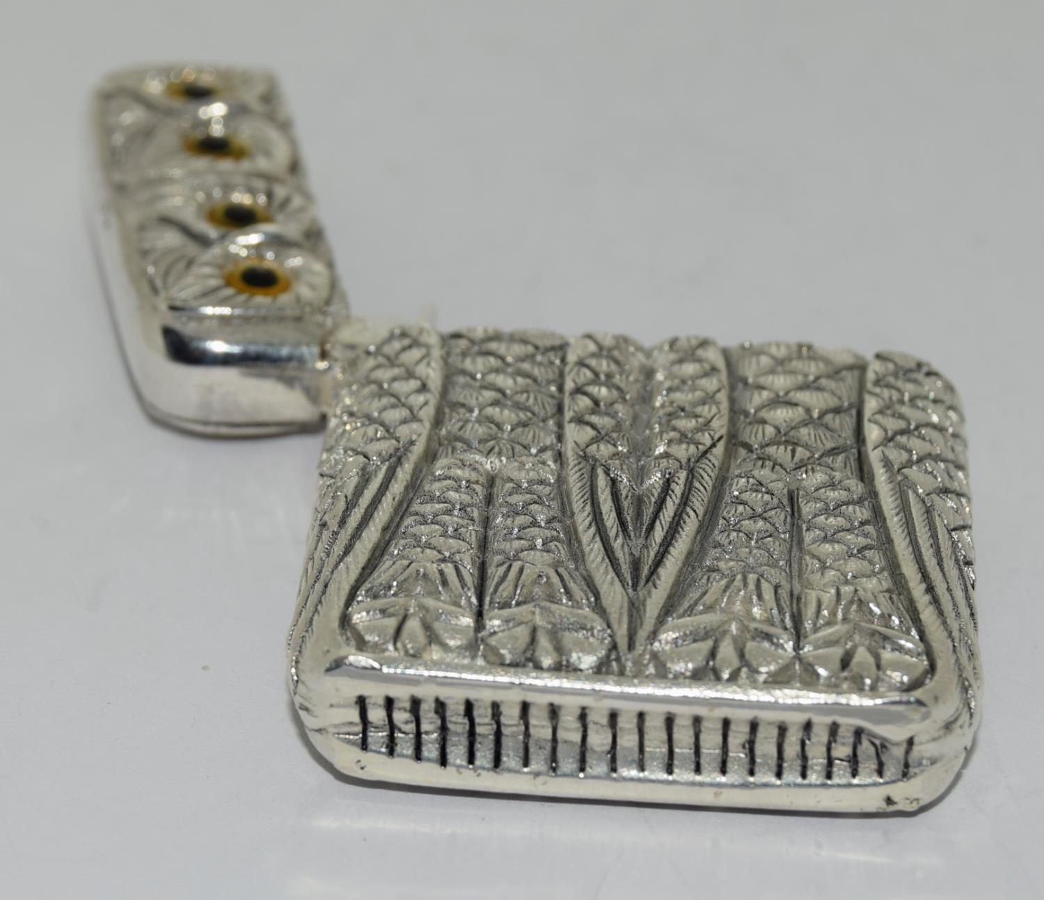 Silver plated owl vesta case - Image 3 of 4