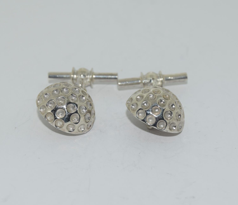 Pair silver golf ball cufflinks stamped 925