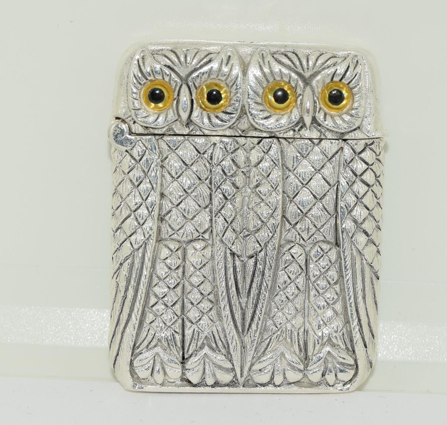 Silver plated owl vesta case