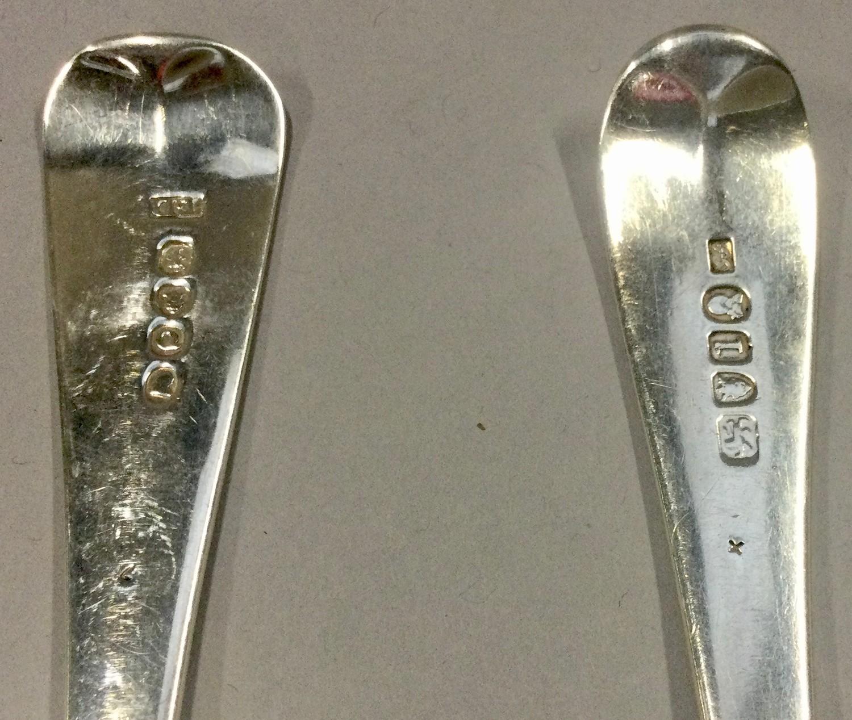 Pair of Georgian silver rat tail serving spoons London 1786,London 1811 - Image 5 of 5