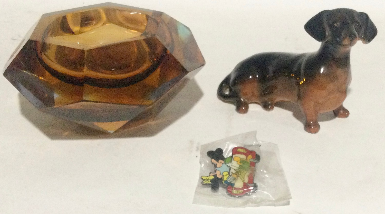 Walt Disney Micky Mouse musical car ,Beswick dauchund dog and a medina glass dish - Image 4 of 10