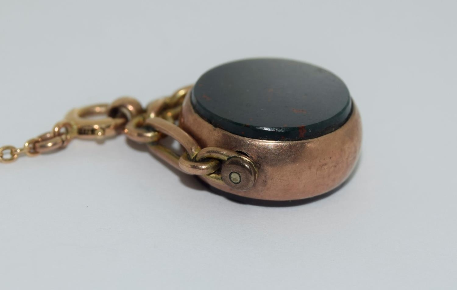 9ct gold ladies watch and strap together an agate watch fob - Image 7 of 9