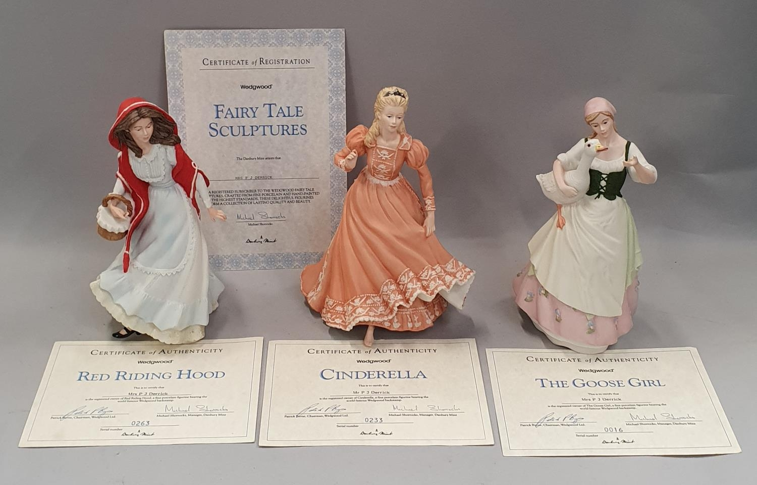 Wedgwood fairy tale figurines x 3 with certificates.
