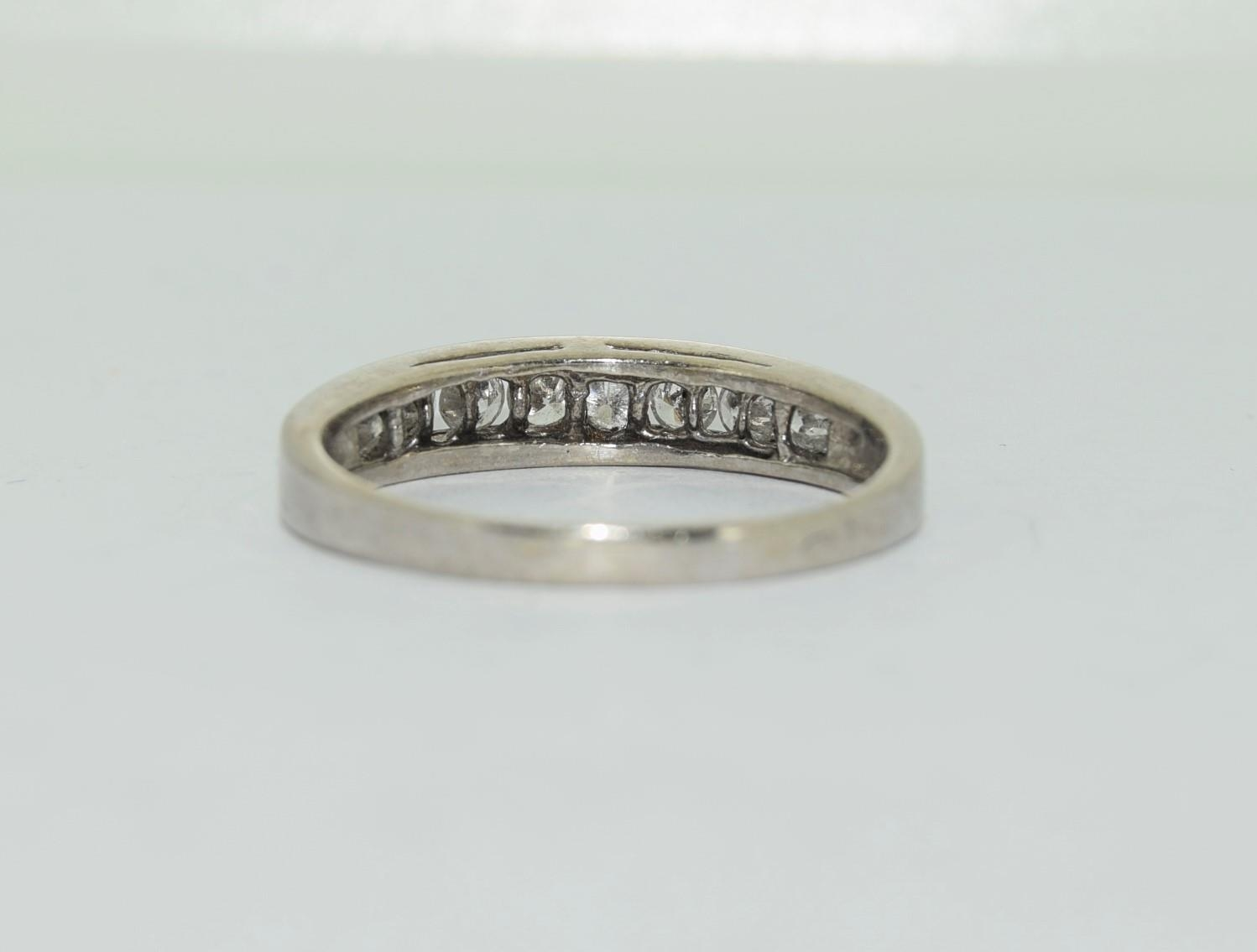 18ct white gold diamond half eternity ring approx 80 pionts size T - Image 3 of 6