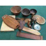 Box of mixed wooden wares including bowls.