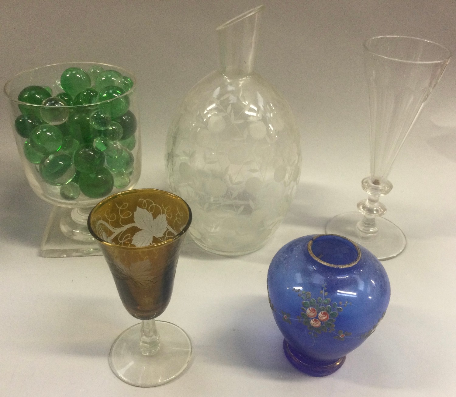 19th century cut glass champagne flute, engraved glass vase, small collection of marbles and further - Image 4 of 4