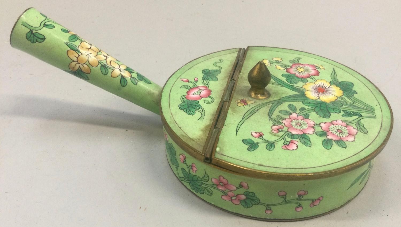 Chinese enamel silk iron late 19th century. - Image 3 of 4