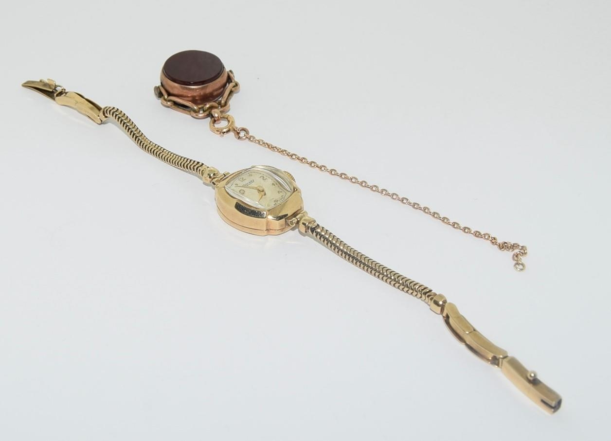 9ct gold ladies watch and strap together an agate watch fob