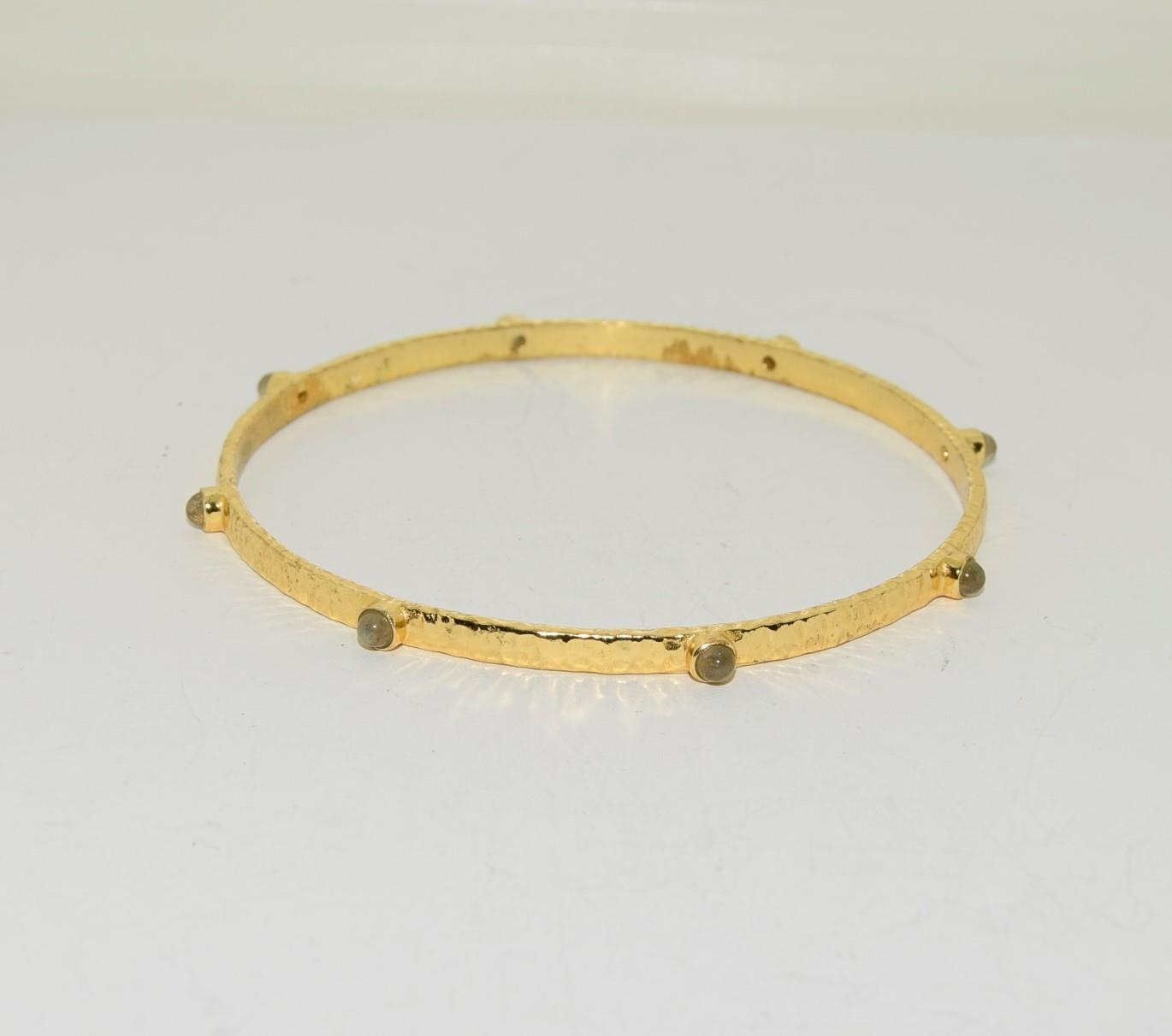Two moonstone and crysophase gilded bangles. - Image 3 of 3
