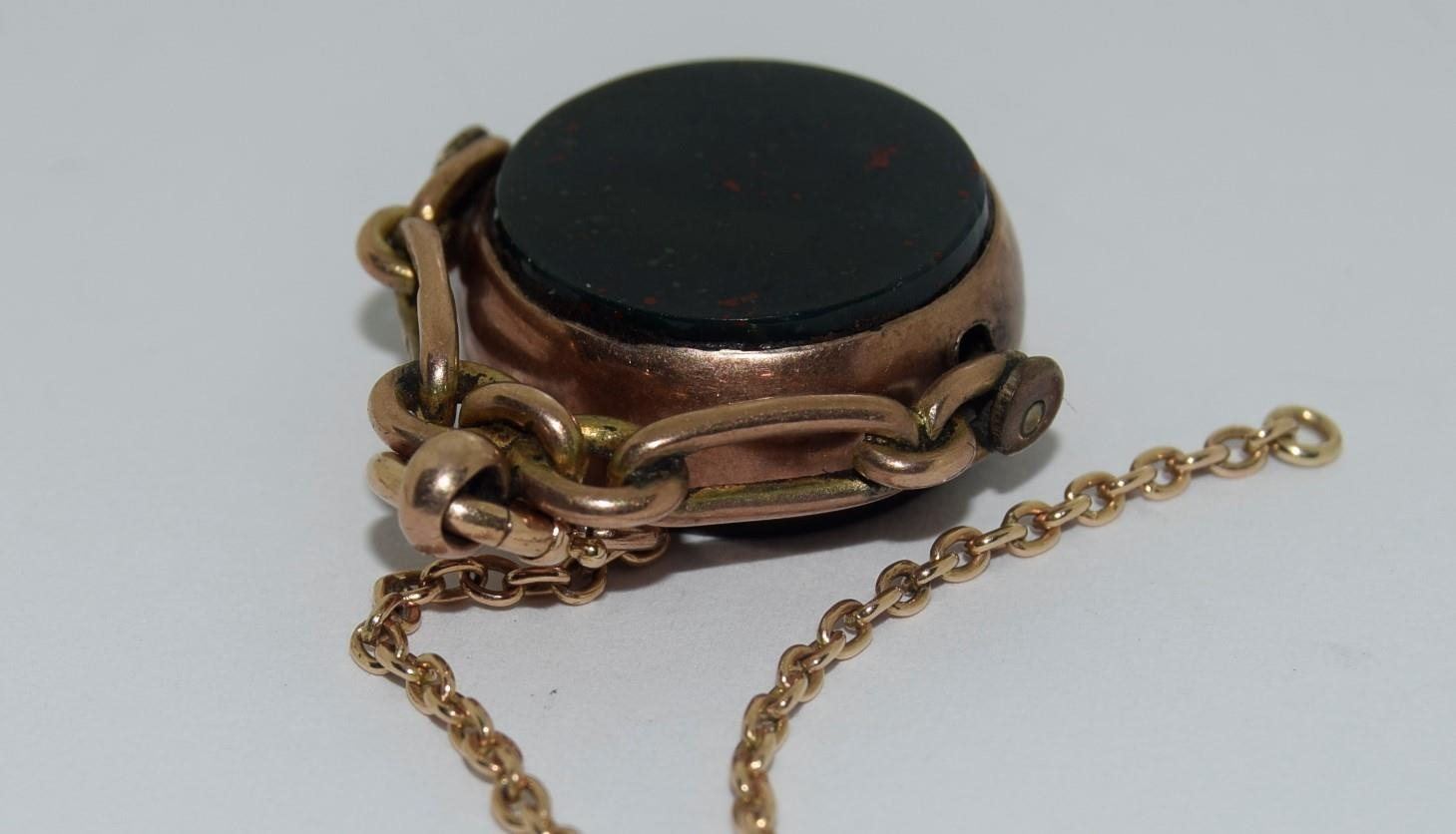 9ct gold ladies watch and strap together an agate watch fob - Image 8 of 9