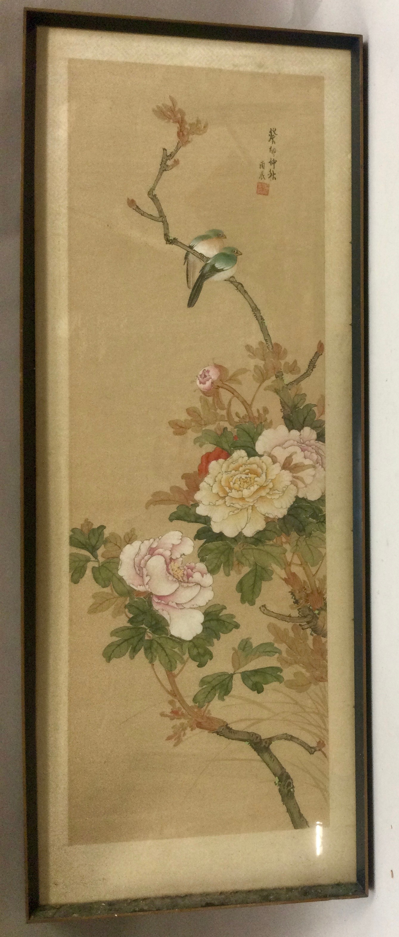 Japanese painted silk panel decorated with blossoming chrysanthemums and birds, signed character