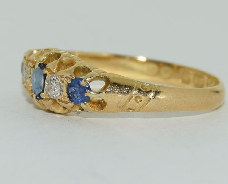 18ct gold ladies antique style ceylon sapphire and diamond ring size O - Image 4 of 6
