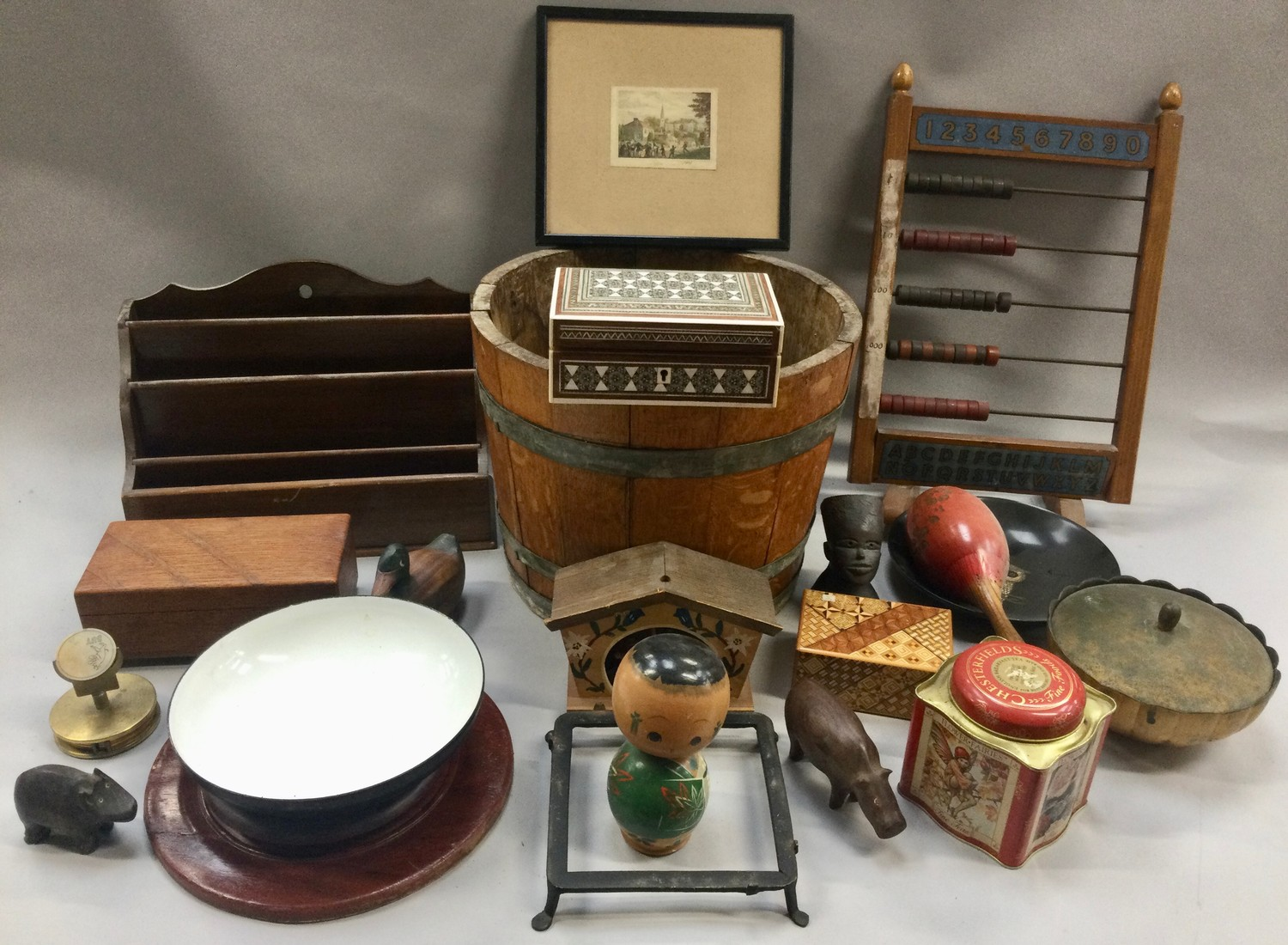 Box of mixed collectables to include antique oak brass banded barrel, vintage abacus and other