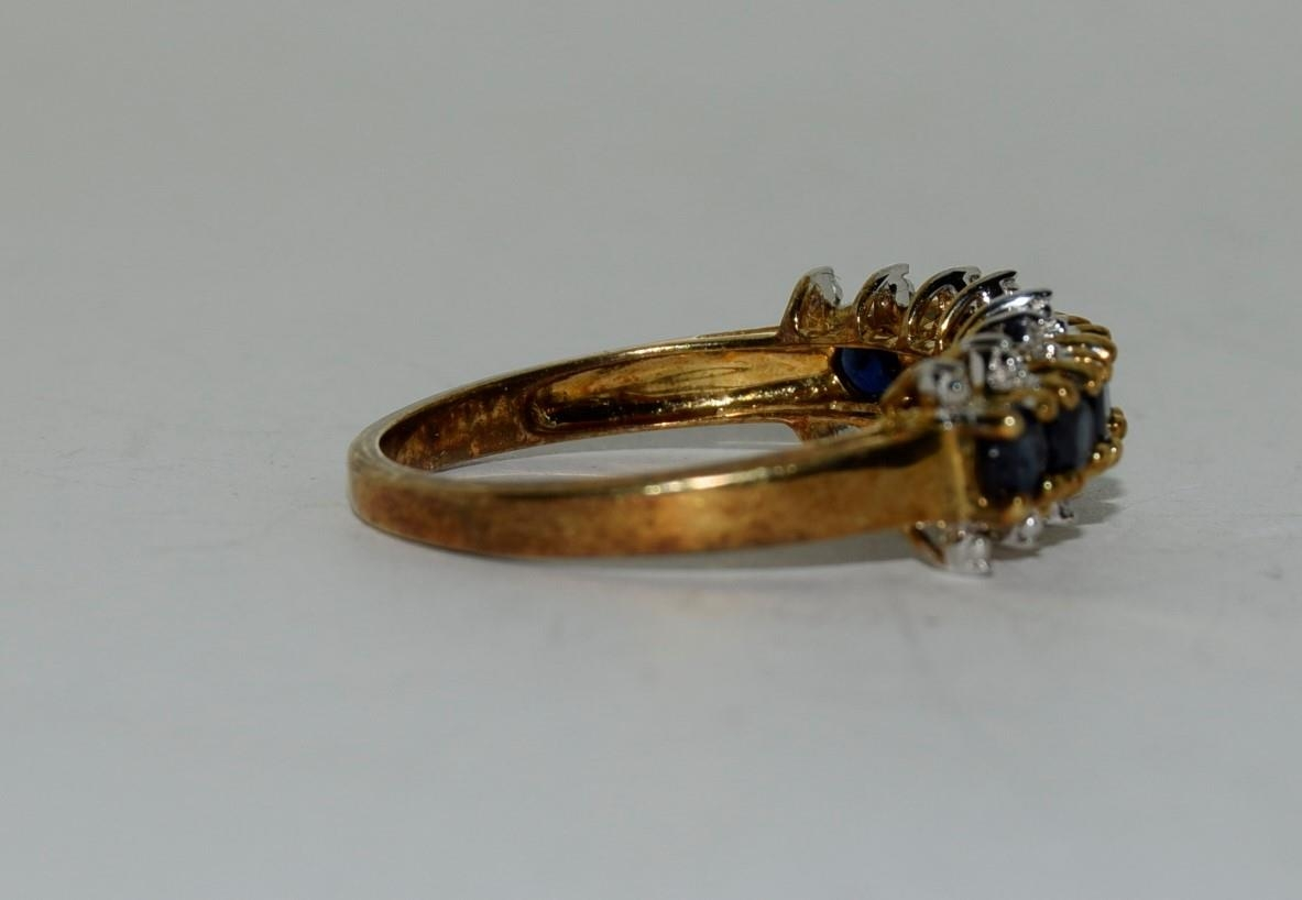 9ct gold ladies sapphire and diamond bar ring size N - Image 2 of 6