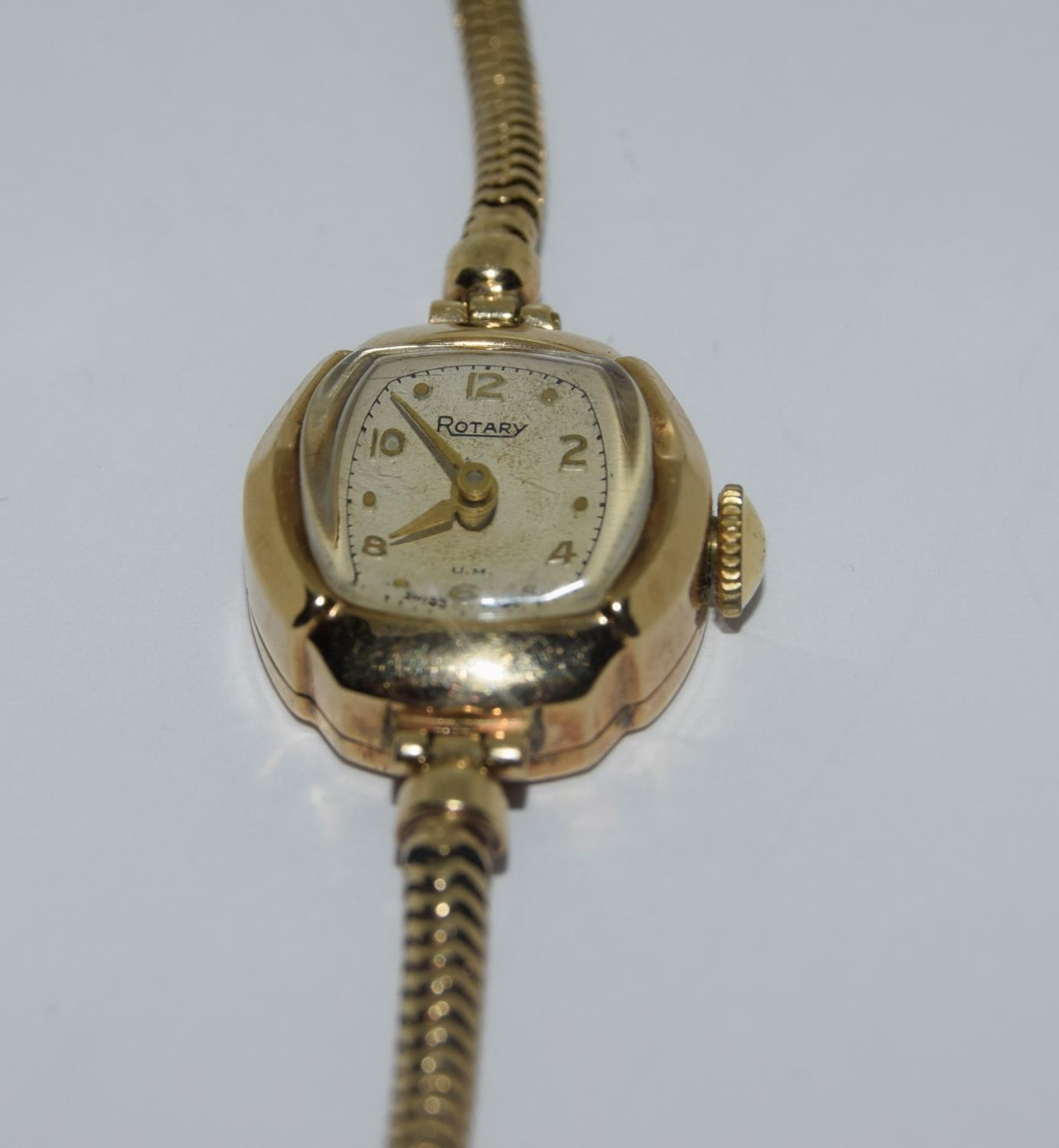 9ct gold ladies watch and strap together an agate watch fob - Image 4 of 9
