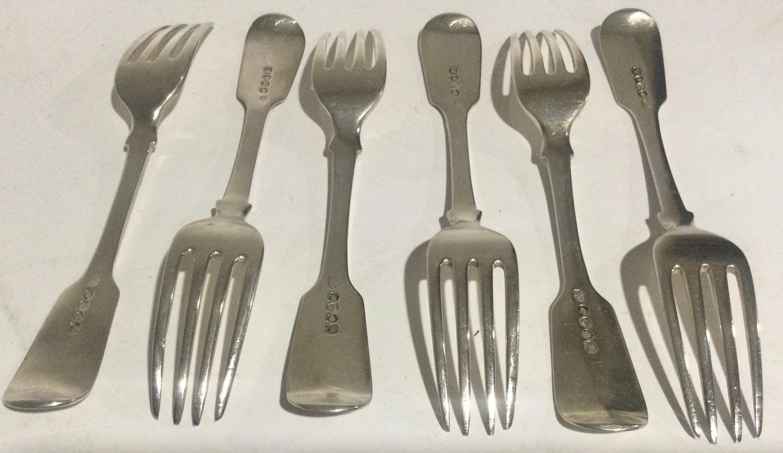 6 William IV silver desert forks London 1834 280gm - Image 4 of 4