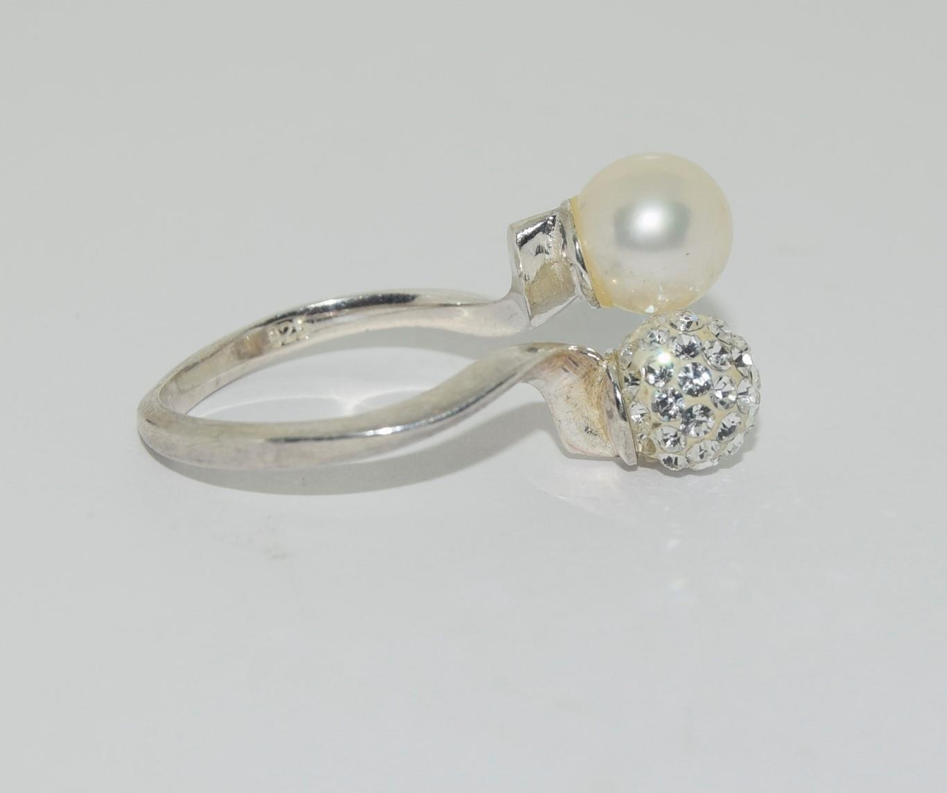 Silver ladies diamante and pearl set ring. Size N. - Image 2 of 3