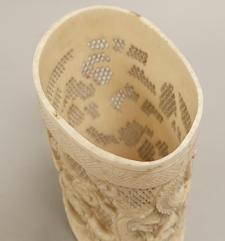 Ivory carved napkin holder. - Image 5 of 7