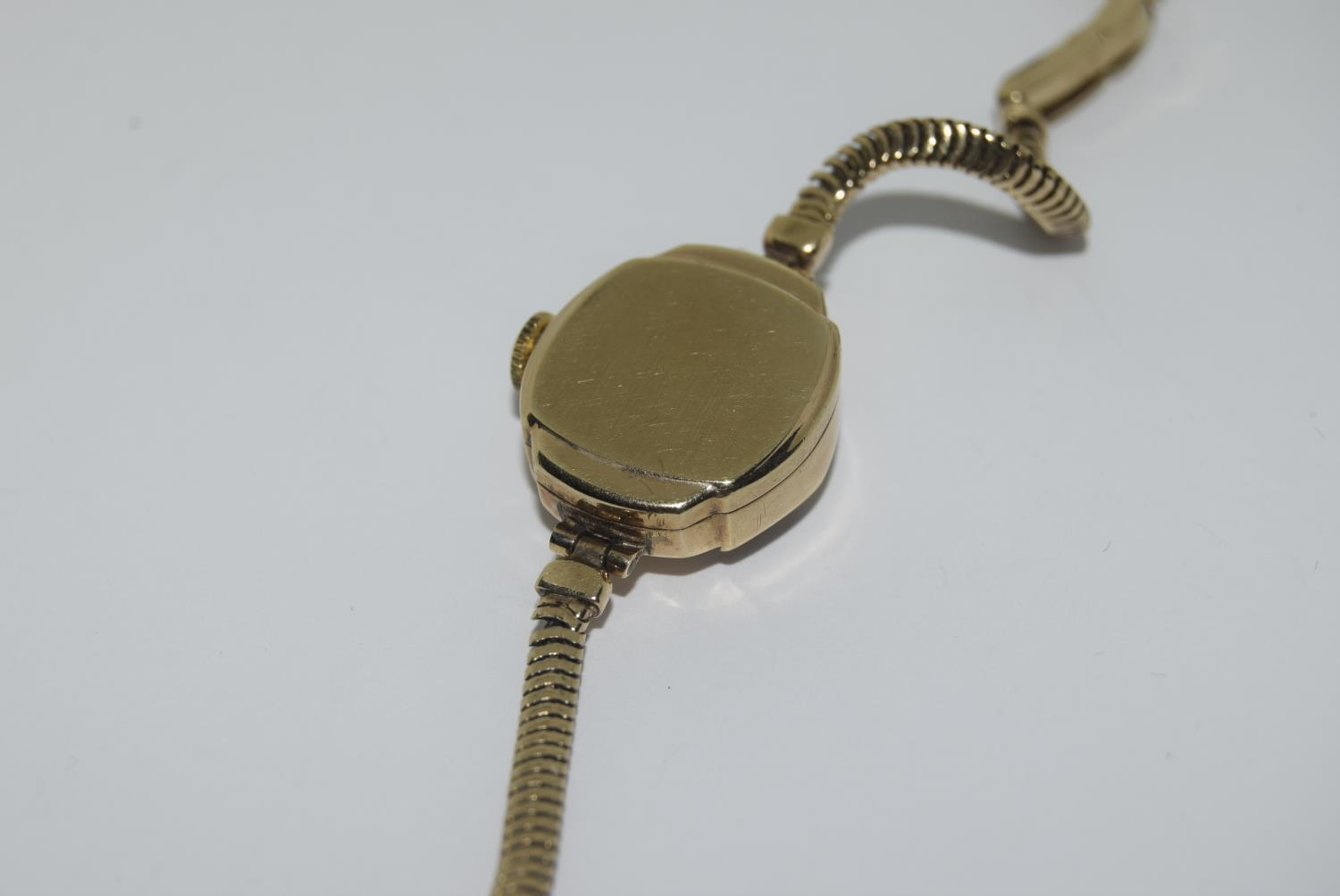 9ct gold ladies watch and strap together an agate watch fob - Image 9 of 9
