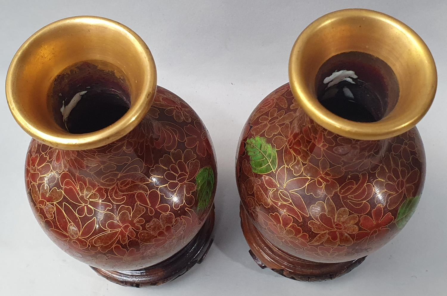 Pair of Cloisonné vases. - Image 2 of 5
