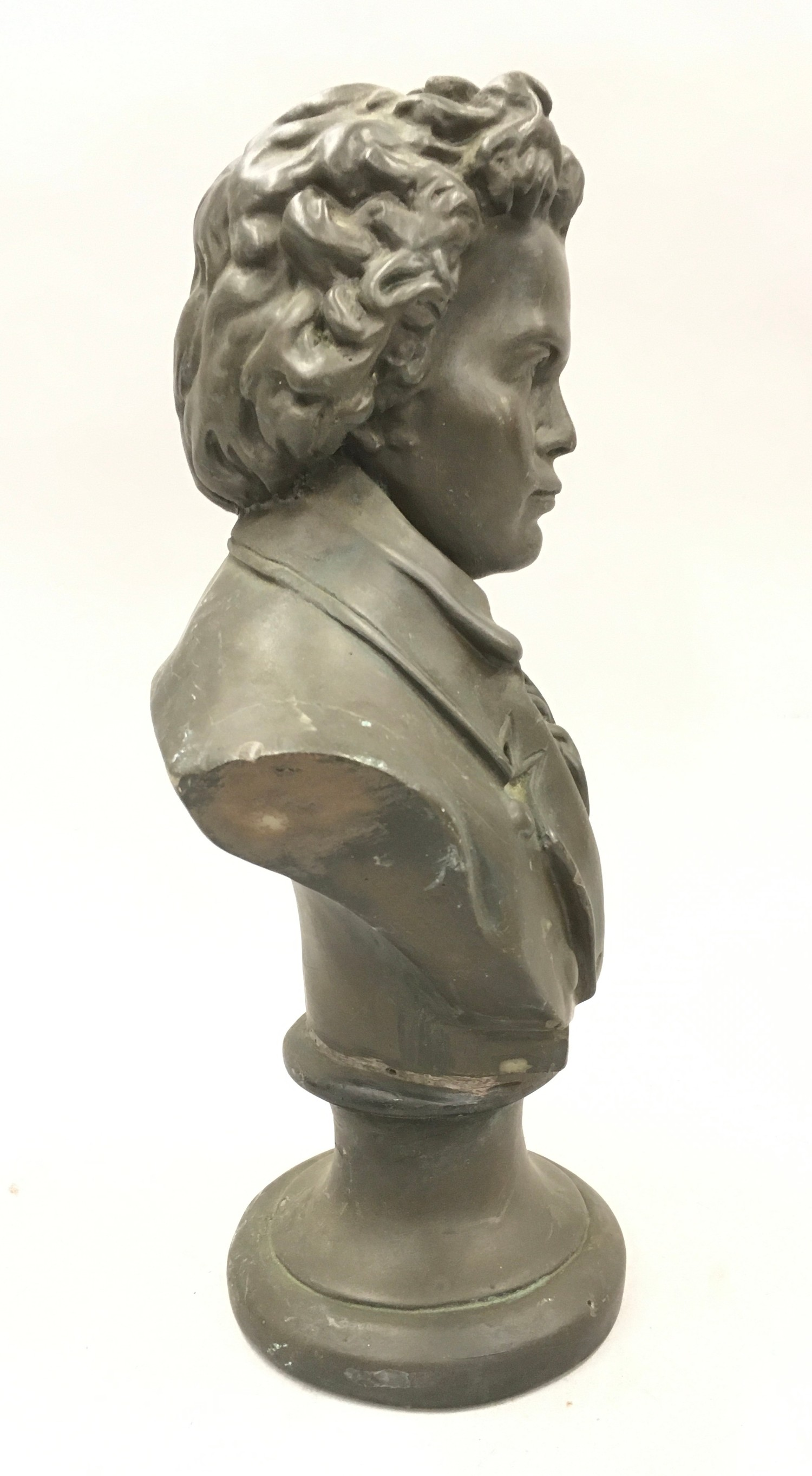 Cast metal bust of Beethoven 33cm tall - Image 2 of 4