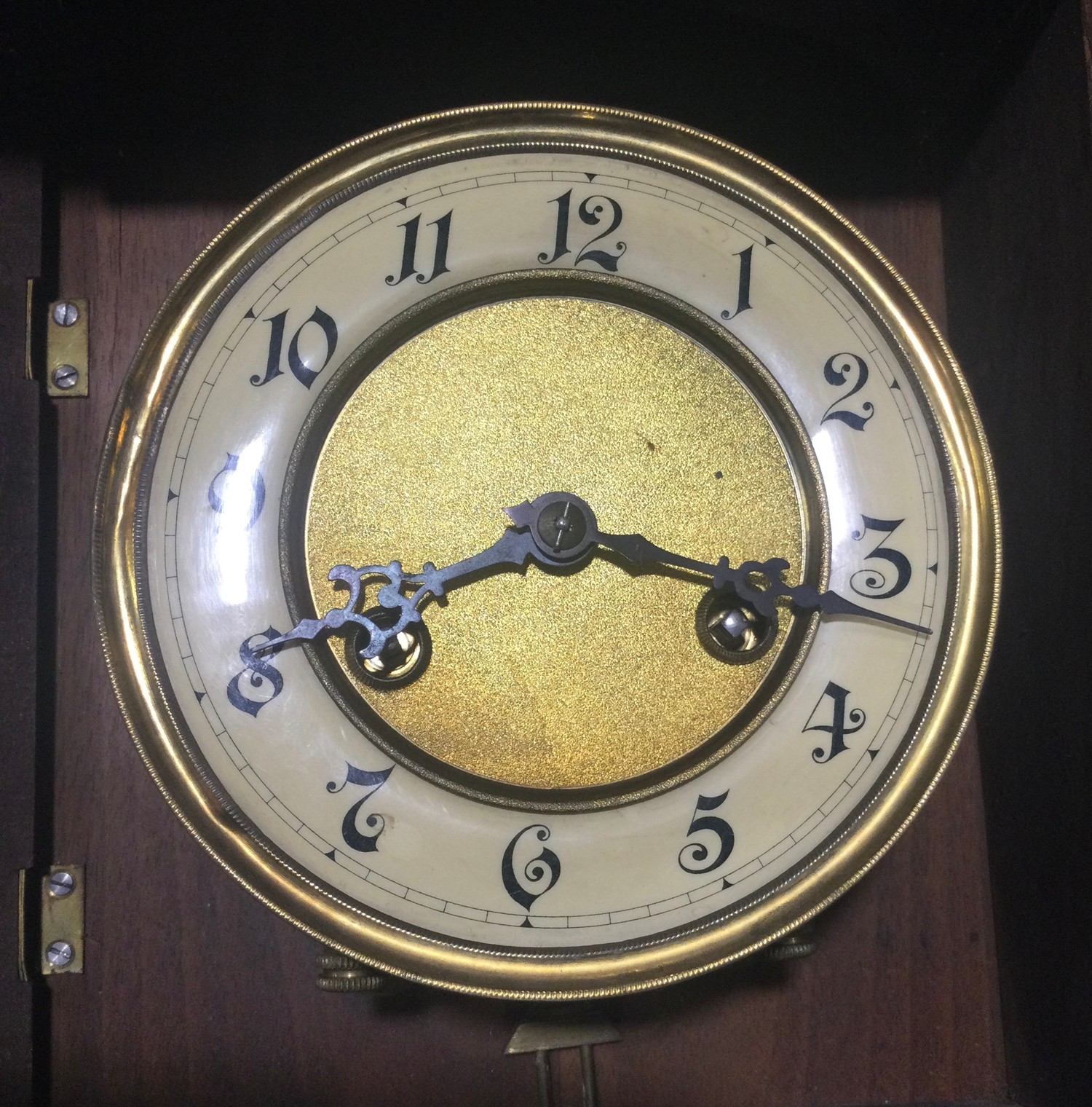 Mahogany striking wall clock with pendulum - Image 5 of 6