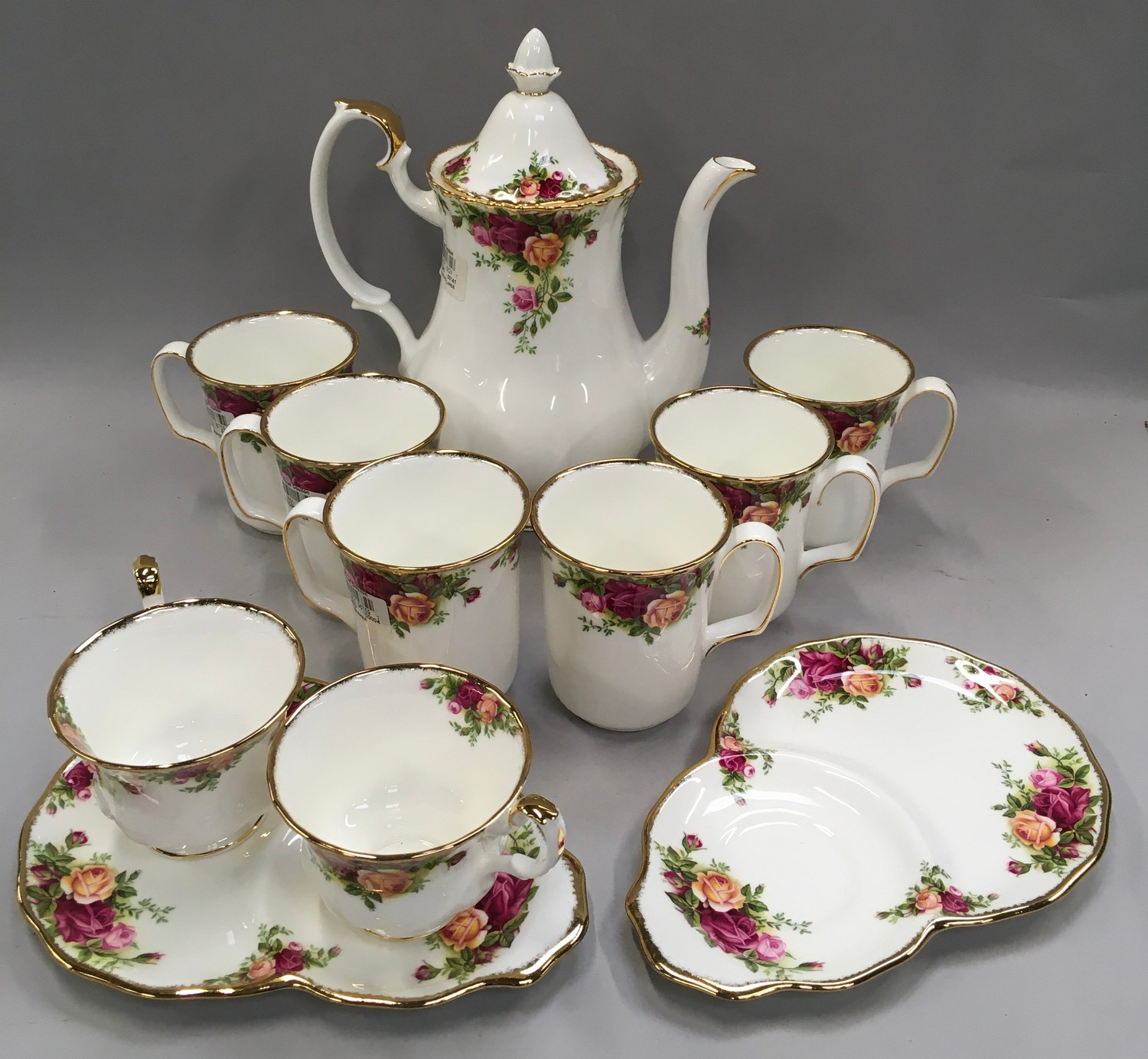 """Royal Albert """"Old Country Roses"""" coffee set to include coffee pot (12)"""