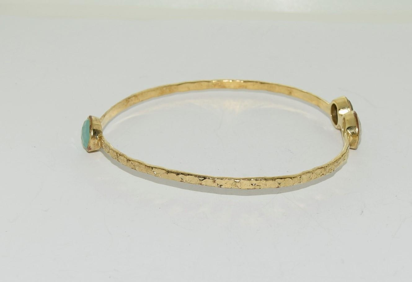 Two moonstone and crysophase gilded bangles. - Image 2 of 3