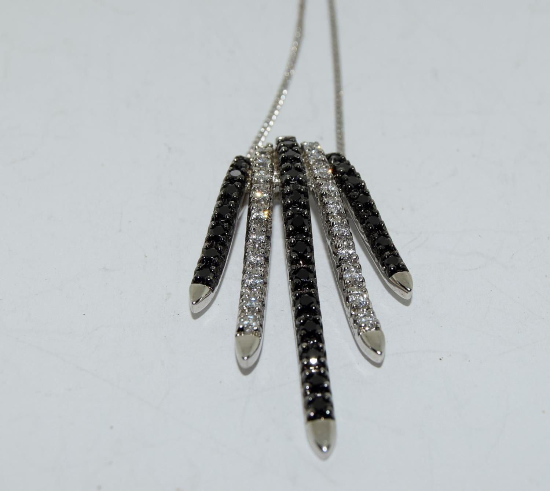Black white CZ impressive 925 silver necklace.