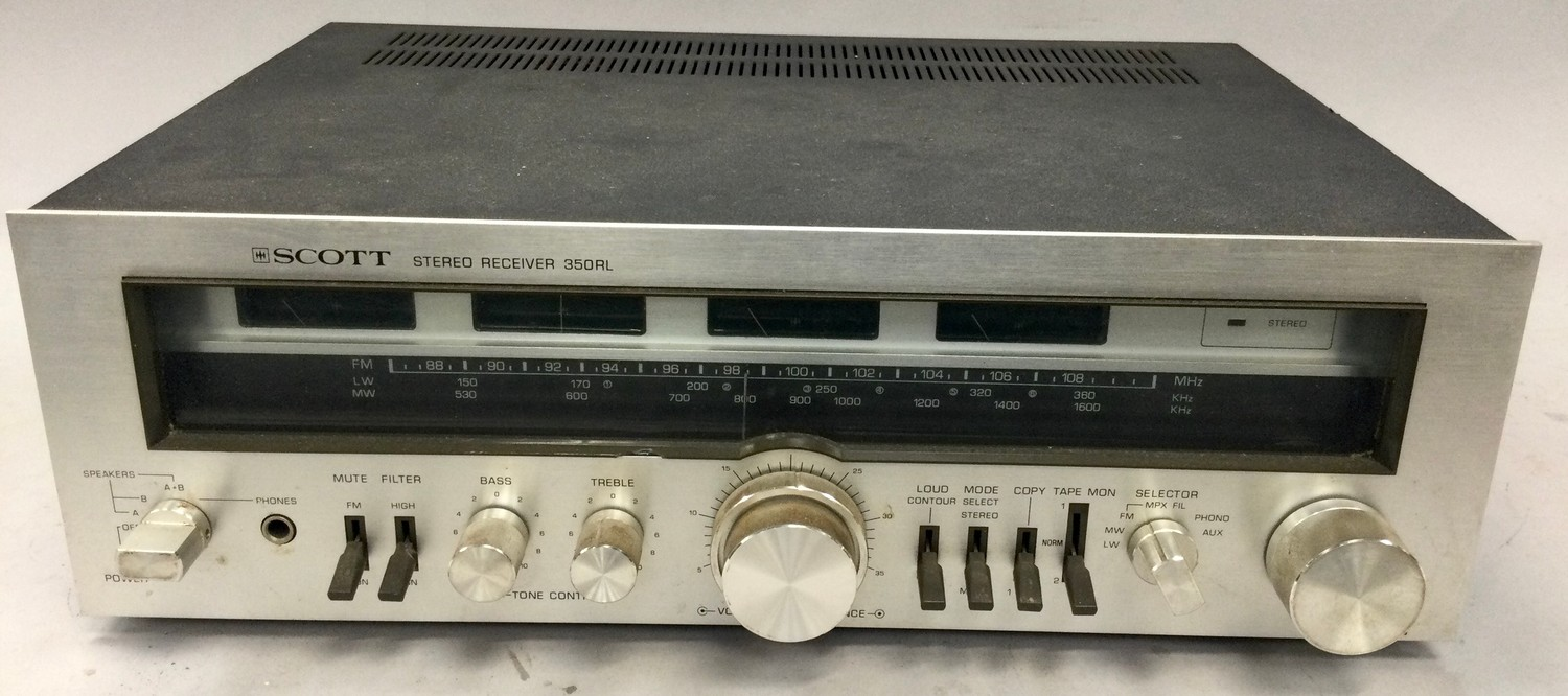 SCOTT AMPLIFIER. Model number 350RL. Power output: 40 watts per channel into 8? (stereo) from 1989