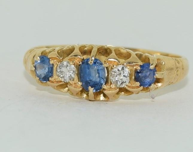 18ct gold ladies antique style ceylon sapphire and diamond ring size O - Image 6 of 6