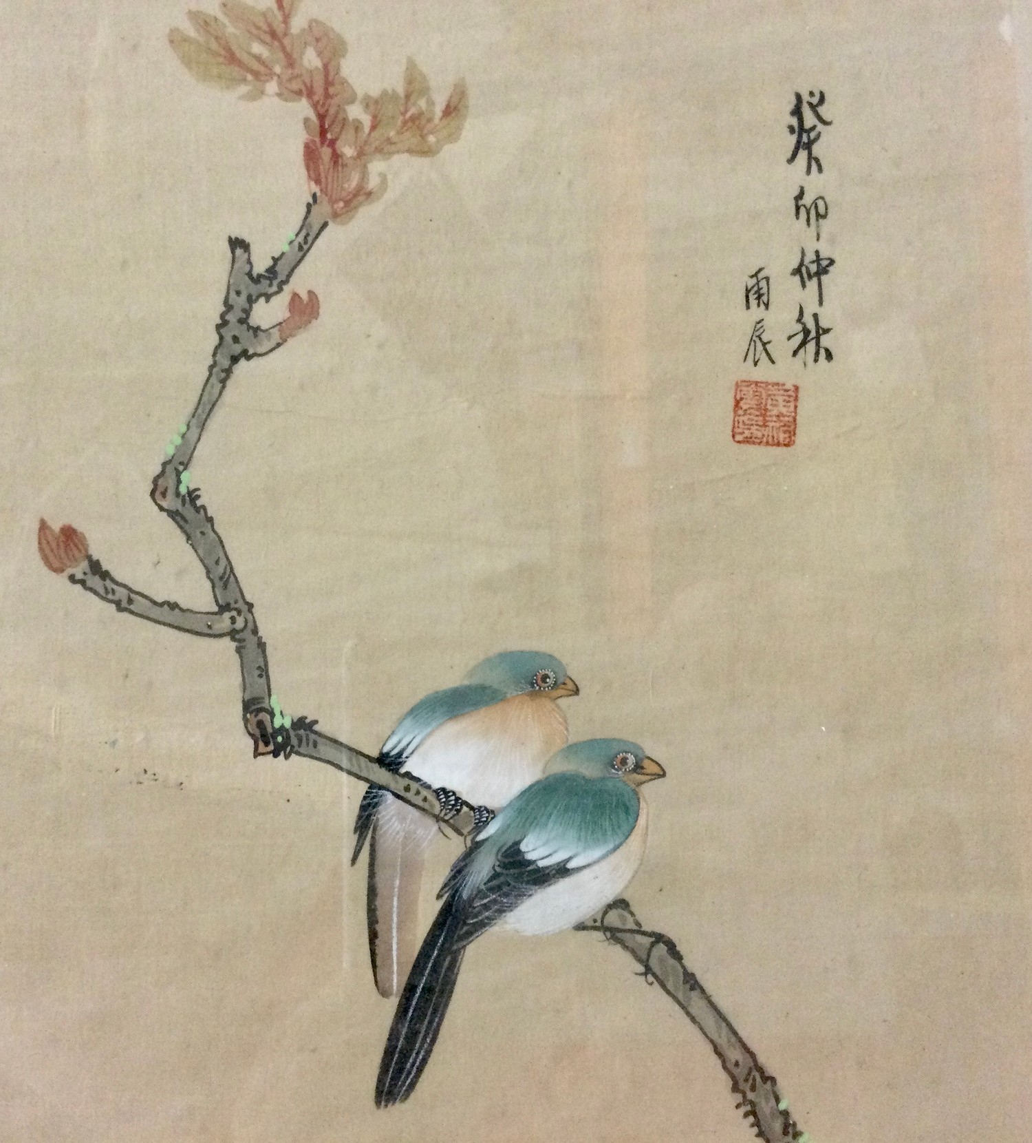 Japanese painted silk panel decorated with blossoming chrysanthemums and birds, signed character - Image 2 of 3