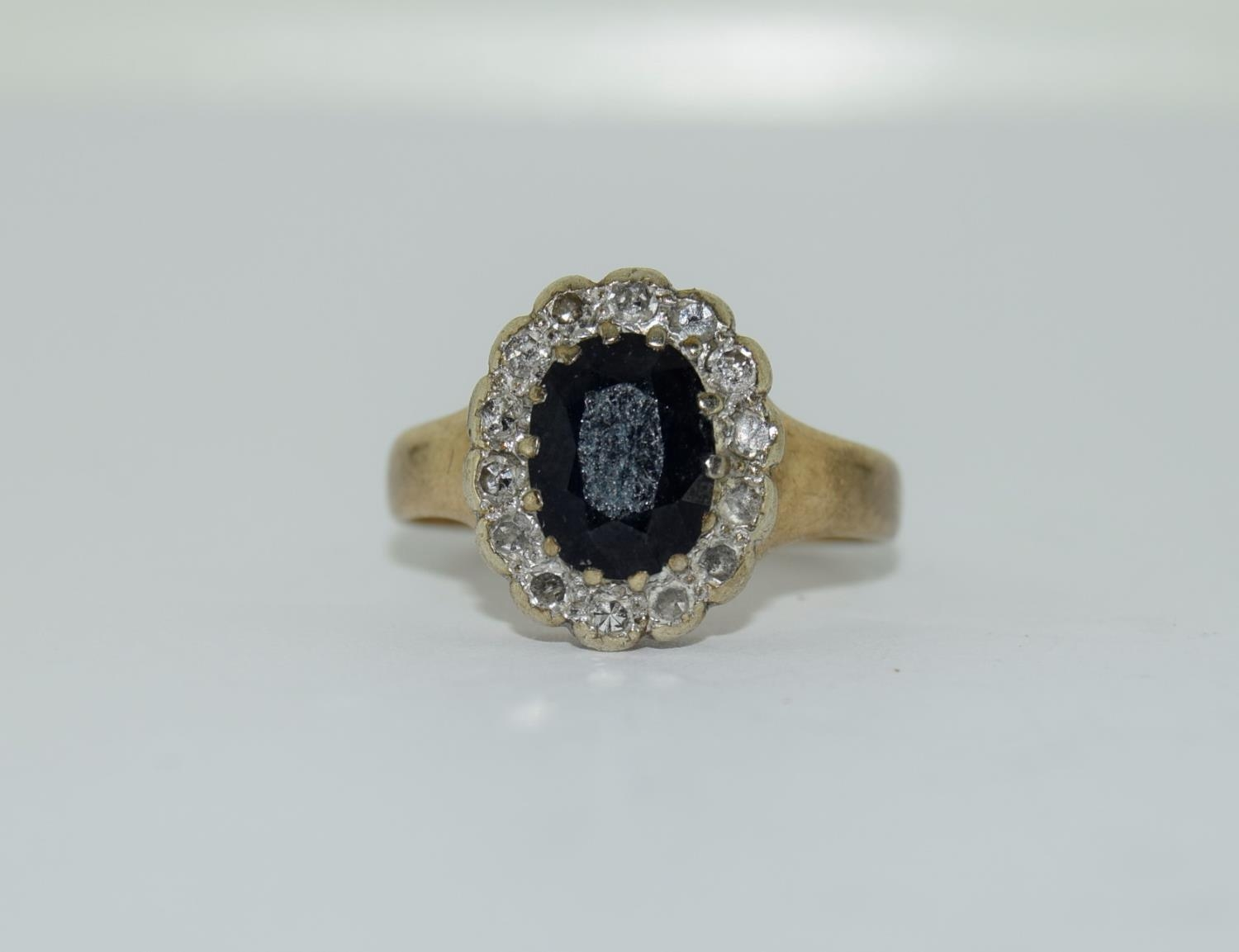 """9ct gold ladies """"Diana"""" diamond and sapphire cluster ring size M - Image 6 of 6"""