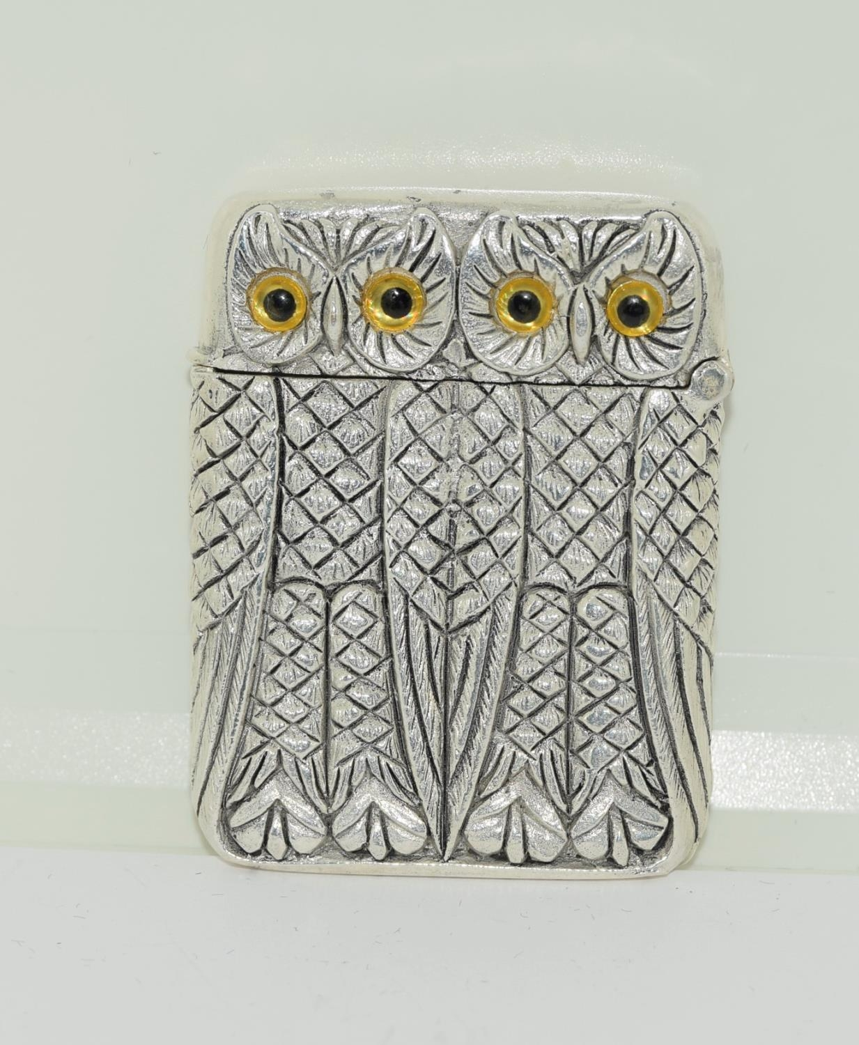 Silver plated owl vesta case - Image 2 of 4